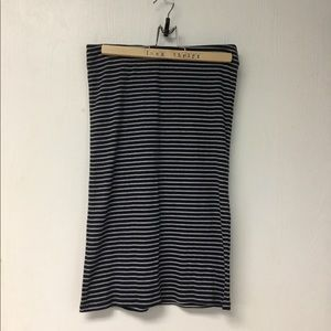 Striped knit midi skirt